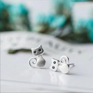 Sterling Silver 925 Cat 🐈 Stud Earrings